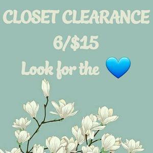 6/$15 CLEARANCE SALE